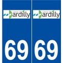 69 Dardilly logo autocollant plaque stickers ville