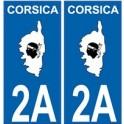 2A Haute-Corse autocollant plaque corsica