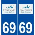 69 Fontaines-sur-Saône logo autocollant plaque stickers ville