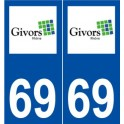 69 Givors logo sticker plate stickers city