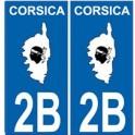 2B Corse du Sud autocollant plaque Corsica