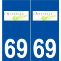 69 L'Arbresle logo autocollant plaque stickers ville