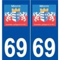 69 Mions logo autocollant plaque stickers ville
