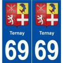 69 Ternay blason autocollant plaque stickers ville