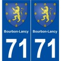 71 Bourbon Lancy coat of arms sticker plate stickers city