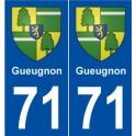 71 Gueugnon coat of arms sticker plate stickers city