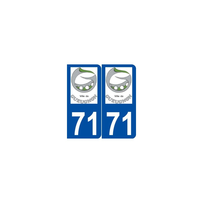 71 gueugnon logo autocollant plaque immatriculation. Black Bedroom Furniture Sets. Home Design Ideas