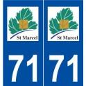 71 Saint-Marcel logo autocollant plaque stickers ville