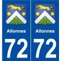 72 Allonnes blason autocollant plaque stickers ville
