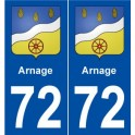 72 Arnage blason autocollant plaque stickers ville