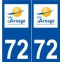 72 Arnage logo autocollant plaque stickers ville