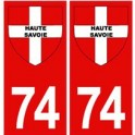 74 Haute Savoie sticker plate red background coat of arms cross savoy