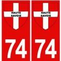 74 Haute Savoie autocollant plaque fond rouge blason croix savoie
