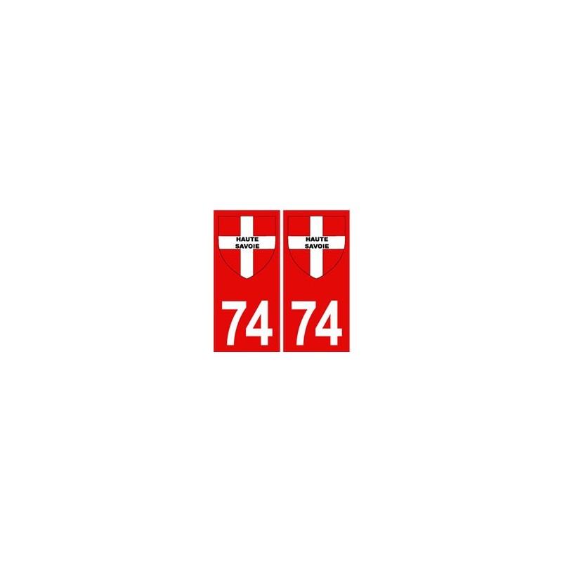 74 haute savoie autocollant plaque immatriculation fond rouge blason croix savoie. Black Bedroom Furniture Sets. Home Design Ideas