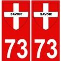 73 Savoie autocollant plaque fond rouge blason croix savoie