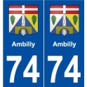 74 Ambilly blason autocollant plaque stickers ville