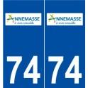 74 Annemasse logo autocollant plaque stickers ville