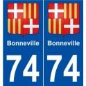 74 Bonneville blason autocollant plaque stickers ville