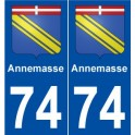 74 Annemasse blason autocollant plaque stickers ville