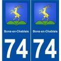 74 Bons-en-Chablais blason autocollant plaque stickers ville
