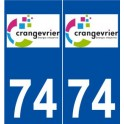 74 Cran-Gevrier logo sticker plate stickers city