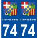 74 Ambilly blason autocollant plaque stickers ville