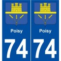 74 Poisy coat of arms sticker plate stickers city