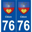 76 Cléon blason autocollant plaque stickers ville