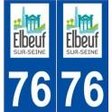 76 Elbeuf logo autocollant plaque stickers ville