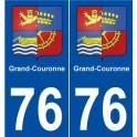 76 Grand-Couronne blason autocollant plaque stickers ville