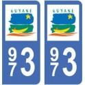 973 Guyane autocollant plaque
