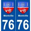 76 Montville blason autocollant plaque stickers ville