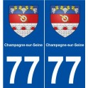 77 Champagne-sur-Seine blason autocollant plaque stickers ville