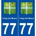 77 Crégy-lès-Meaux blason autocollant plaque stickers ville