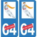 Autocollant Immatriculation sticker pelote basque pelotari chistera plaque auto