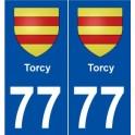 77 Torcy blason autocollant plaque stickers ville