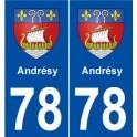 78 Andrésy blason autocollant plaque stickers ville