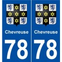 78 Chevreuse coat of arms sticker plate stickers city