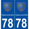 78 Clayes-sous-Bois blason autocollant plaque stickers ville