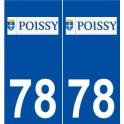 78 Poissy logo autocollant plaque stickers ville