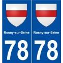78 Rosny-sur-Seine blason autocollant plaque stickers ville