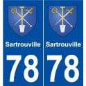 78 Sartrouville coat of arms sticker plate stickers city