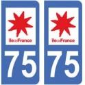 75 Paris Ile de France Sticker autocollant plaque immatriculation auto voiture département