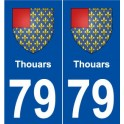 79 Thouars coat of arms sticker plate stickers city