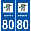 80 Péronne logo sticker plate stickers city