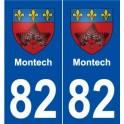 82 Montech blason autocollant plaque stickers ville