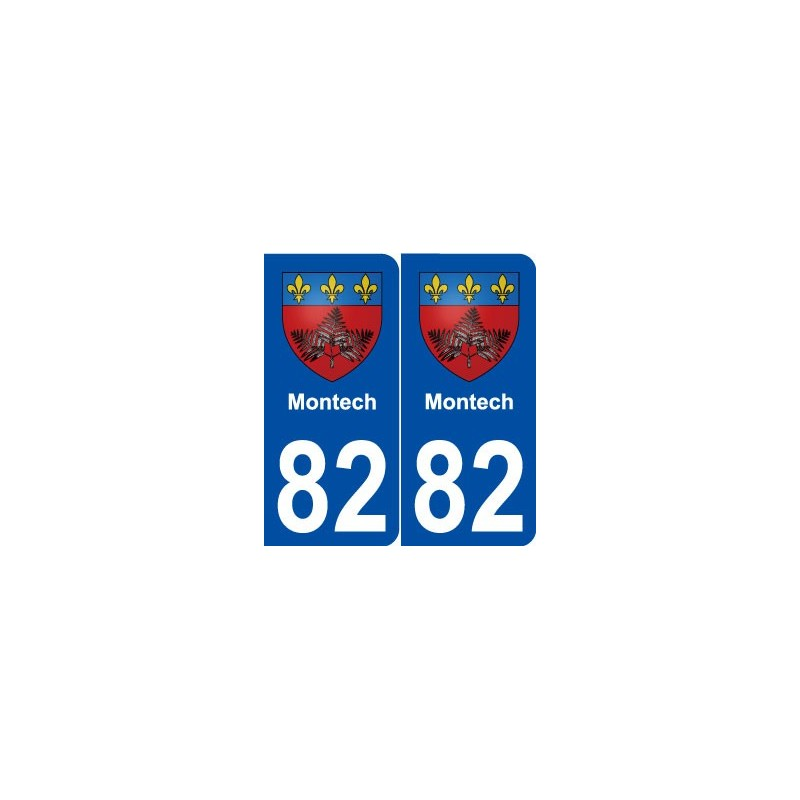 82 montech blason autocollant plaque immatriculation stickers ville. Black Bedroom Furniture Sets. Home Design Ideas