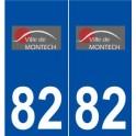 82 Montech logo autocollant plaque stickers ville
