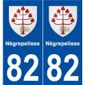 82 Nègrepelisse blason autocollant plaque stickers ville