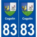 83 Cogolin coat of arms sticker plate stickers city